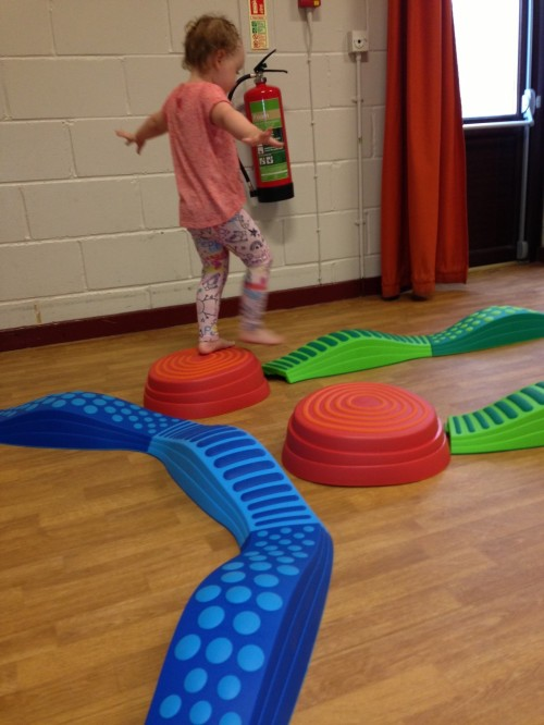 Wavy Tactile Path with Rainbow River Stepping Stones